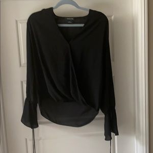 Trouve black blouse, flared sleeves.